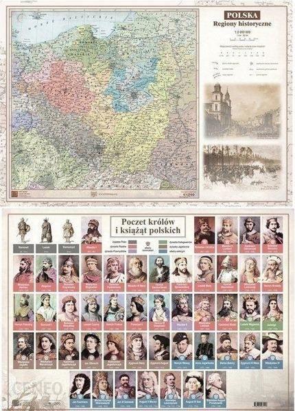 Mapa ścienna Mapa Polski A2 Laminowana Regiony Hist 10szt Ceny