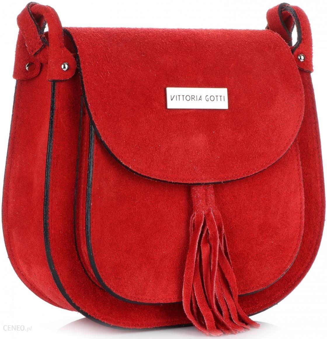 4d375408f93a7 Uniwersalne Torebki Listonoszki Skórzane Vittoria Gotti Czerwone (kolory) -  zdjęcie 1