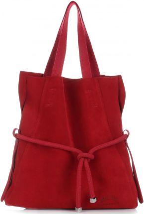 da6fbb6cd8c9e Uniwersalna i Modna Torebka Skórzana Vittoria Gotti Shopper XL z  Kosmetyczką Czerwona (kolory)