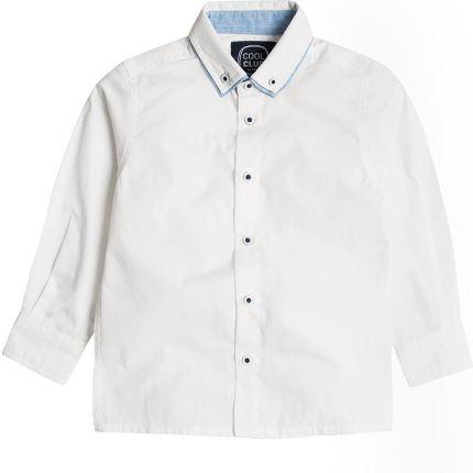 329d0bd79179c Cool Club, Koszula chłopięca z długim rękawem, biała, denimowe wykończenia  ...