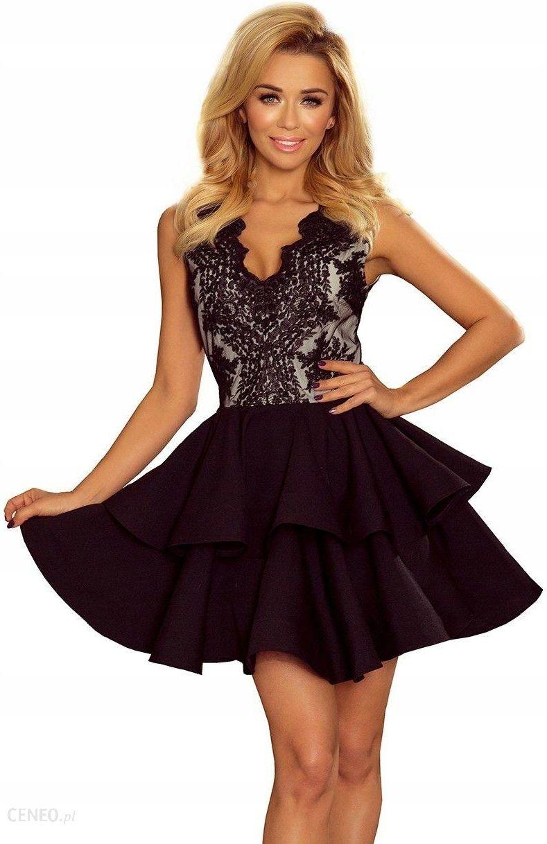 Wspaniały Rozkloszowana Sukienka Koronkowy Dekolt Czarna XL - Ceny i opinie MT08