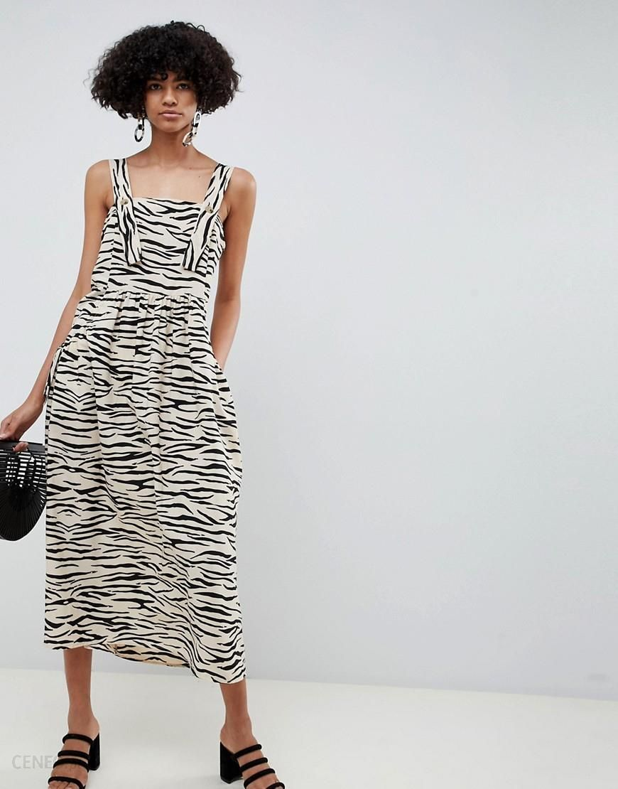 f219f51ed43 ASOS DESIGN dungaree maxi dress in animal print - Multi - zdjęcie 1