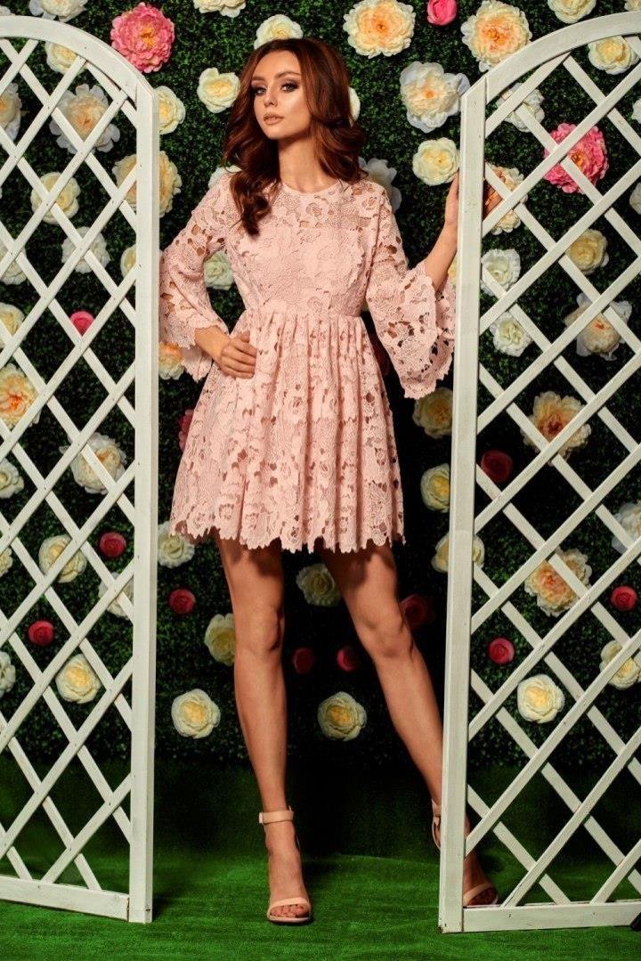dd657dfedd Lemoniade Romantyczna sukienka z koronki L262 pudrowy róż - Ceny i ...