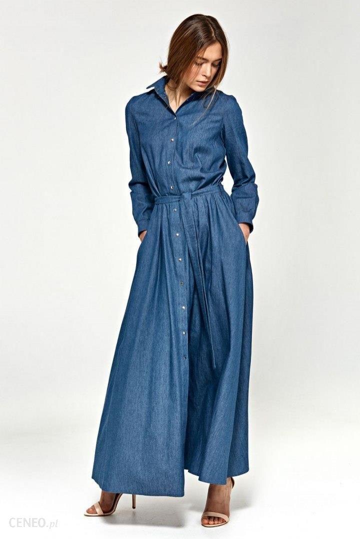 8801b70b35 Nife Sukienka maxi z długim rękawem - jeans - S93 - Ceny i opinie ...