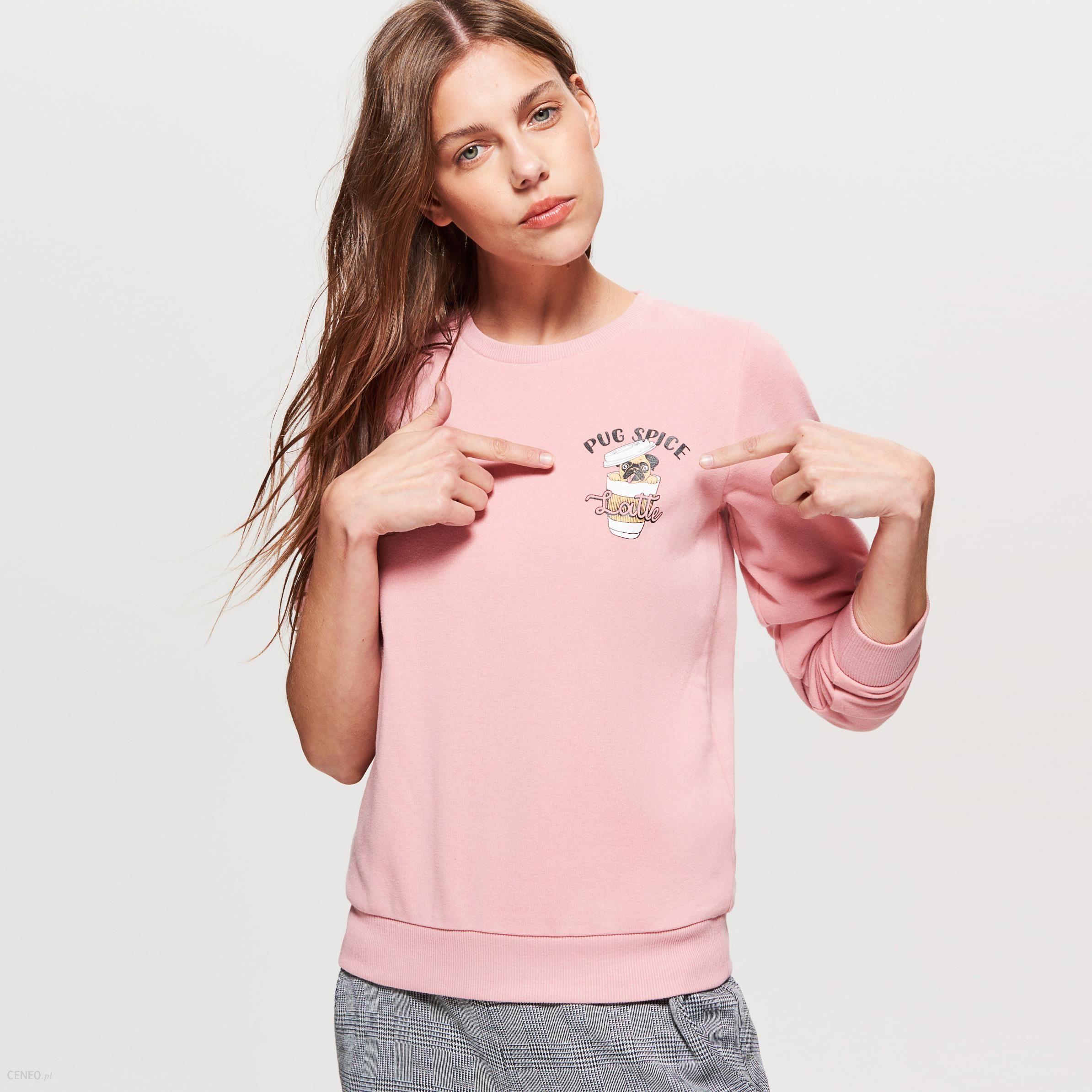 10d0d43f13 Cropp - Bluza z nadrukiem - Różowy - Ceny i opinie - Ceneo.pl