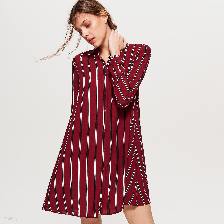 2250c59c50 Cropp - Koszulowa sukienka oversize - Bordowy - Ceny i opinie - Ceneo.pl