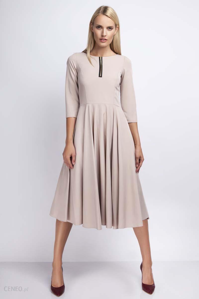 64f7dcb085 Nommo Beżowa Rozkloszowana Sukienka za Kolano z Kontrastowym Zamkiem -  zdjęcie 1