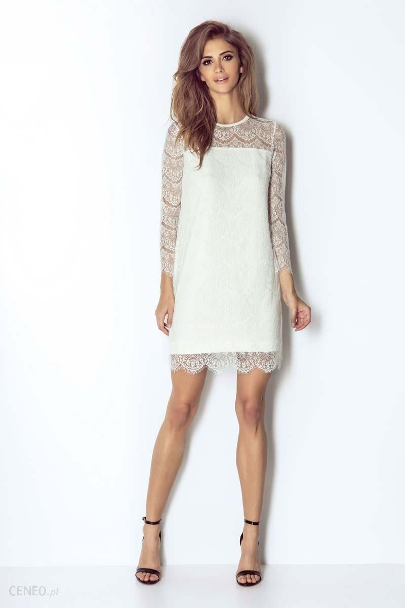 57a5b01fe9 Wow Point Białą Wizytowa Trapezowa Sukienka Koronkowa z Dzwonkowym Rękawem  - zdjęcie 1