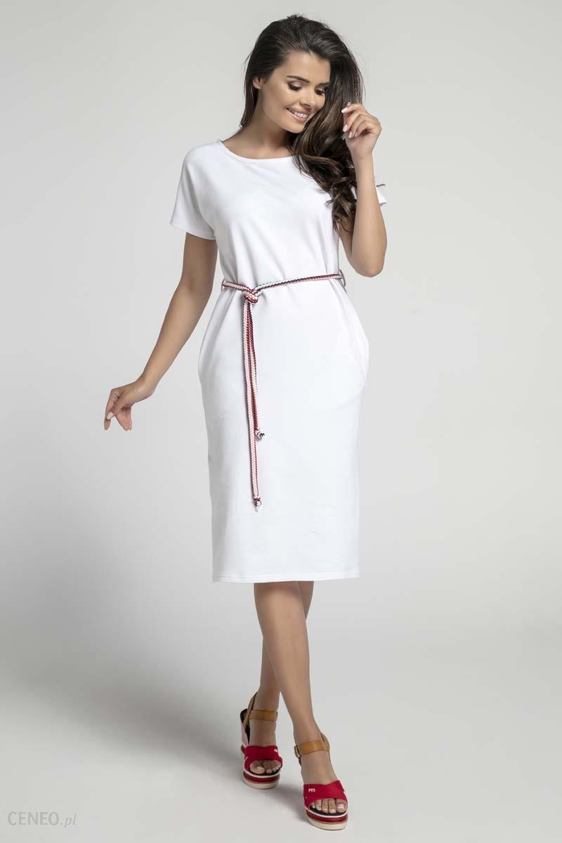 8446ad3bae Nommo Biała Prosta Sukienka Midi Przewiązana Kolorowym Sznurkiem - zdjęcie 1