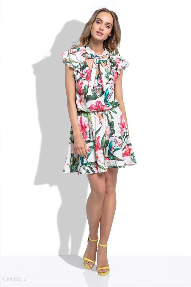 197412fcd3 Fobya Białą Letnia Sukienka z Tropikalnym Wzorem z Ozdobnymi Falbankami -  zdjęcie 1