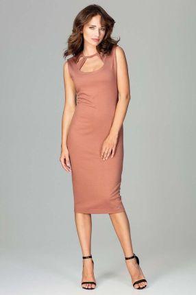 5891adc230 Katrus Brązowa Klasyczna Ołówkowa Sukienka Midi z Ozdobnym Dekoltem