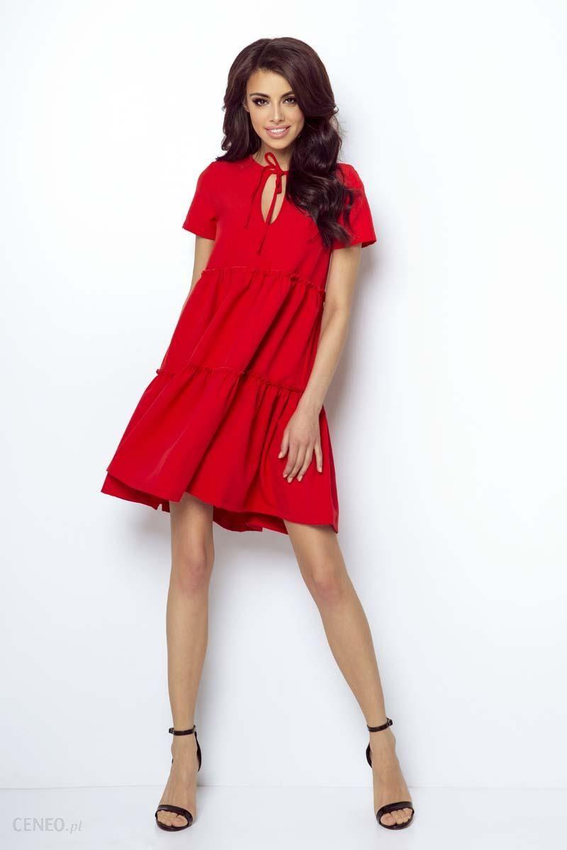 c6ac0c23f3 IVON Casualowa Zwiewna Sukienka Wiązana przy Dekolcie - Czerwona - zdjęcie 1