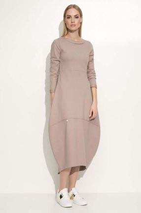 6ca9403a7e Makadamia Cappuccino Sukienka Asymetryczna Bombka Midi z Długim Rękawem