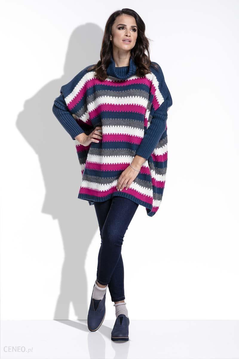 902148e3 Fobya Amarantowy Sweter Oversizowy w Paski z Golfem