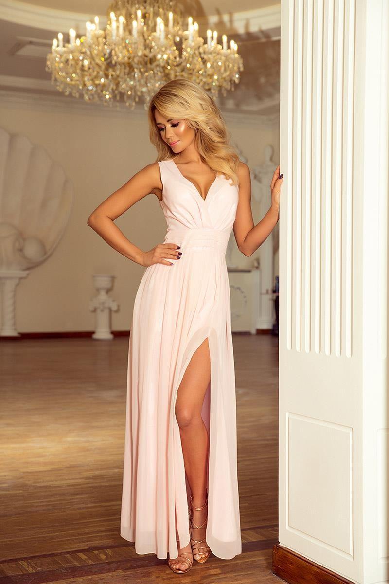 Numoco Brzoskwiniowa Sukienka Wieczorowa Maxi z Dekoltem V - zdjÄ™cie 1