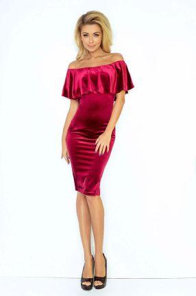 01394b9a60 Numoco Burgundowa Sukienka Ołówkowa z Hiszpańskim Dekoltem