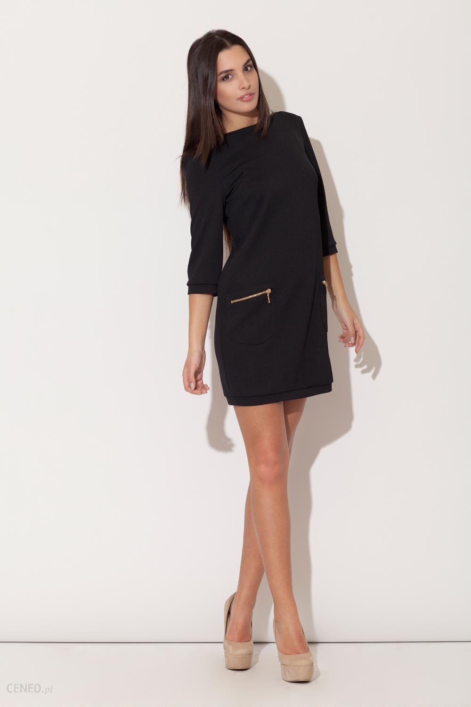 Figl Czarna Mini sukienka z Rękawem 34 i Kieszeniami