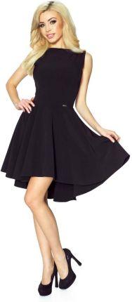 a4e34e0789 Bergamo Czarna Klasyczna Sukienka bez Rękawów z Szerokim Wydłużonym Dołem