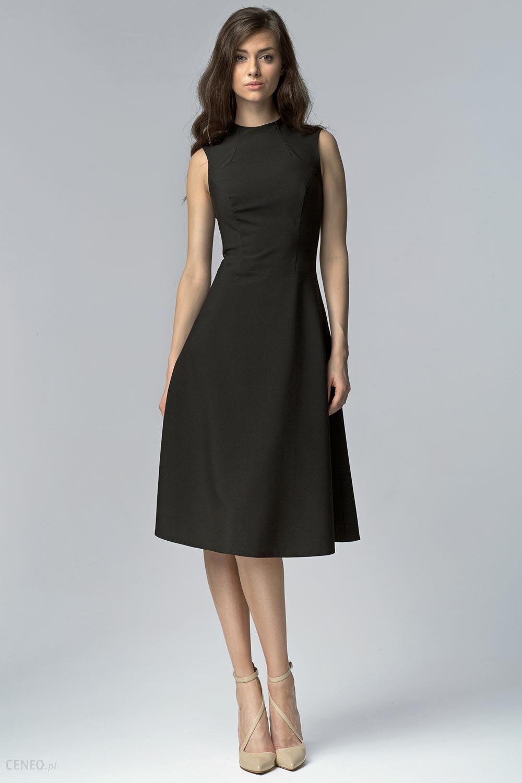 46246f2e Nife Czarna Elegancka Rozkloszowana Midi Sukienka bez Rękawów