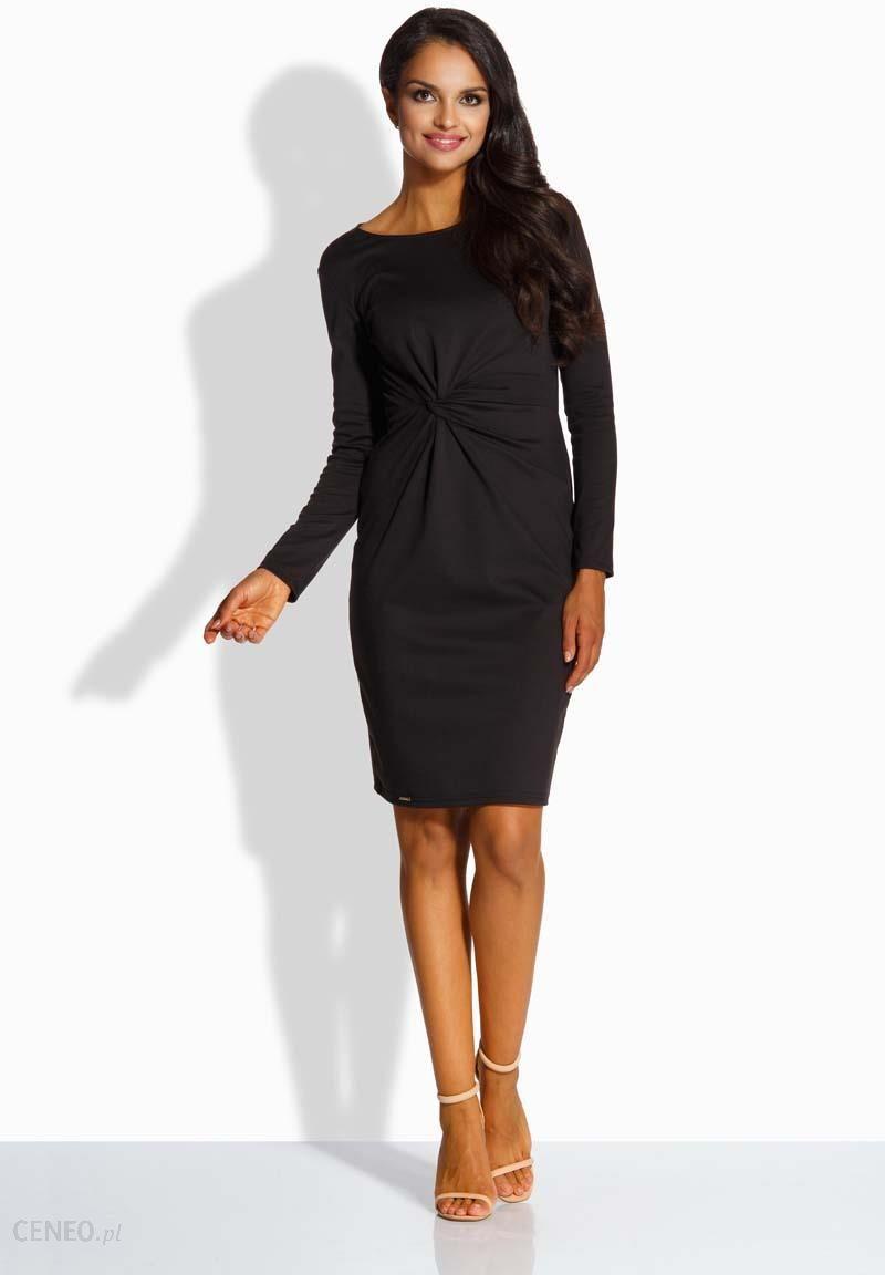 bcd791e3fc Lemoniade Czarna Elegancka Dopasowana Sukienka z Ozdobnym Węzłem - zdjęcie 1