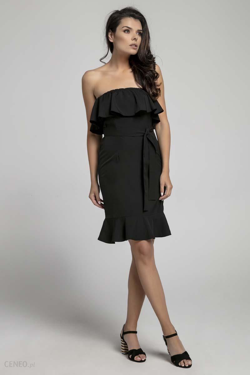 2a95ab69c5 Nommo Czarna Koktajlowa Sukienka Typu Hiszpanka z Paskiem - Ceny i ...