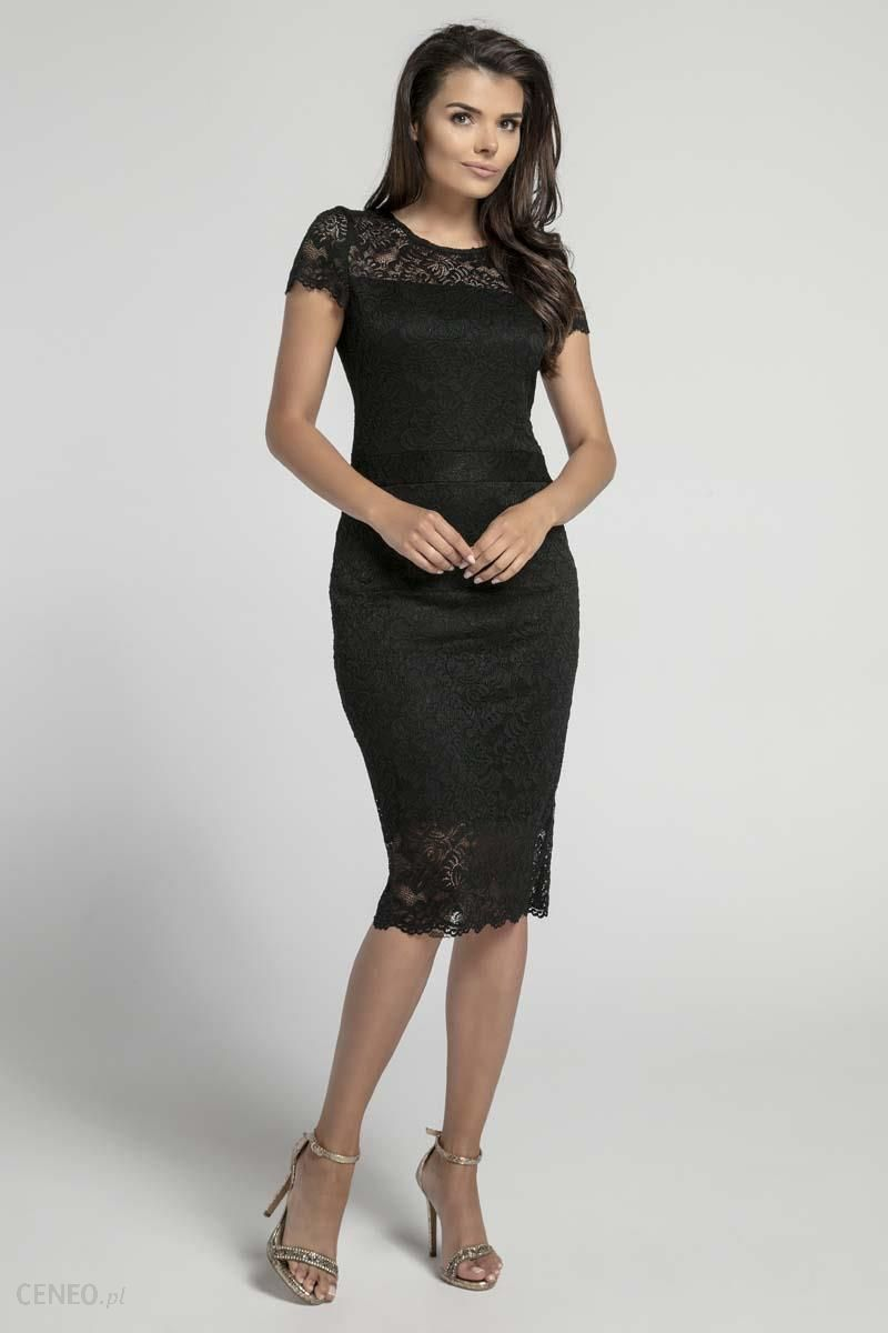 89bce94afe Nommo Czarna Koronkowa Ołówkowa Sukienka Midi z Dekoltem V na Plecach -  zdjęcie 1