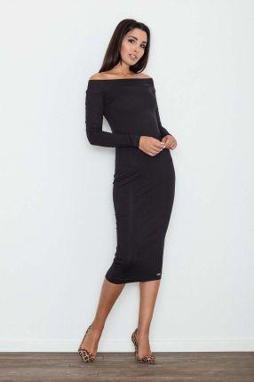 5dd3c04816 Figl Czarna Ołówkowa Sukienka za Kolano z Szerokim Dekoltem