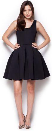 17b7220da619c Figl Czarna Rozkloszowana Sukienka Mini z Dekoltem V na Plecach