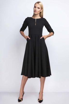 e1bcb5ef63 Nommo Czarna Rozkloszowana Sukienka za Kolano z Kontrastowym Zamkiem