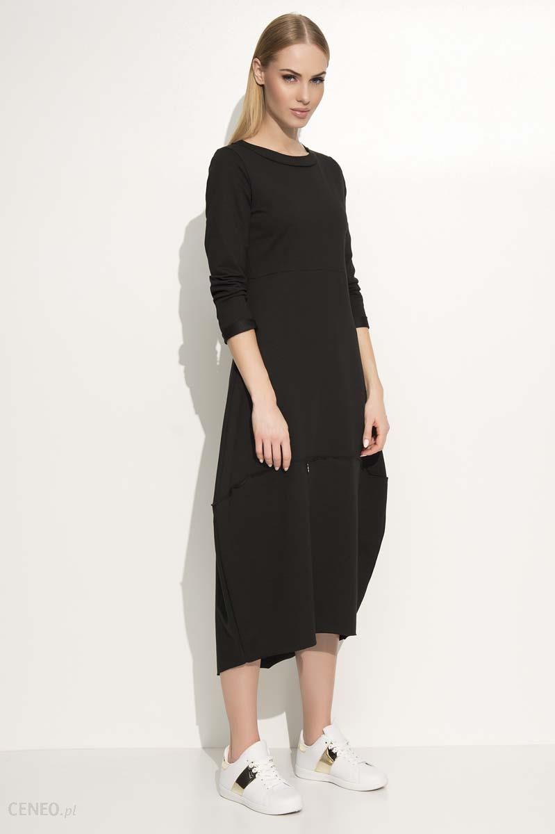 a947348dcc Makadamia Czarna Sukienka Asymetryczna Bombka Midi z Długim Rękawem -  zdjęcie 1