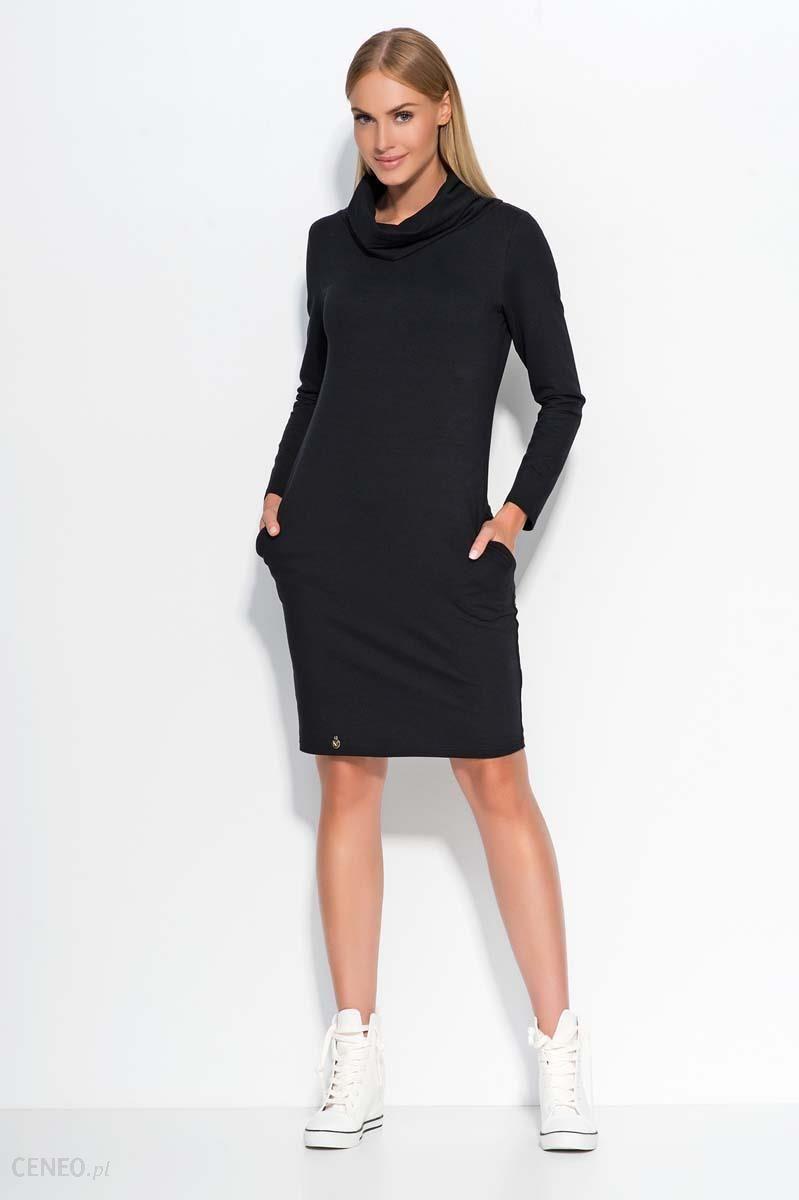 f50c7c4135 Makadamia Czarna Sukienka Dresowa z Wywijanym Golfem - Ceny i opinie ...