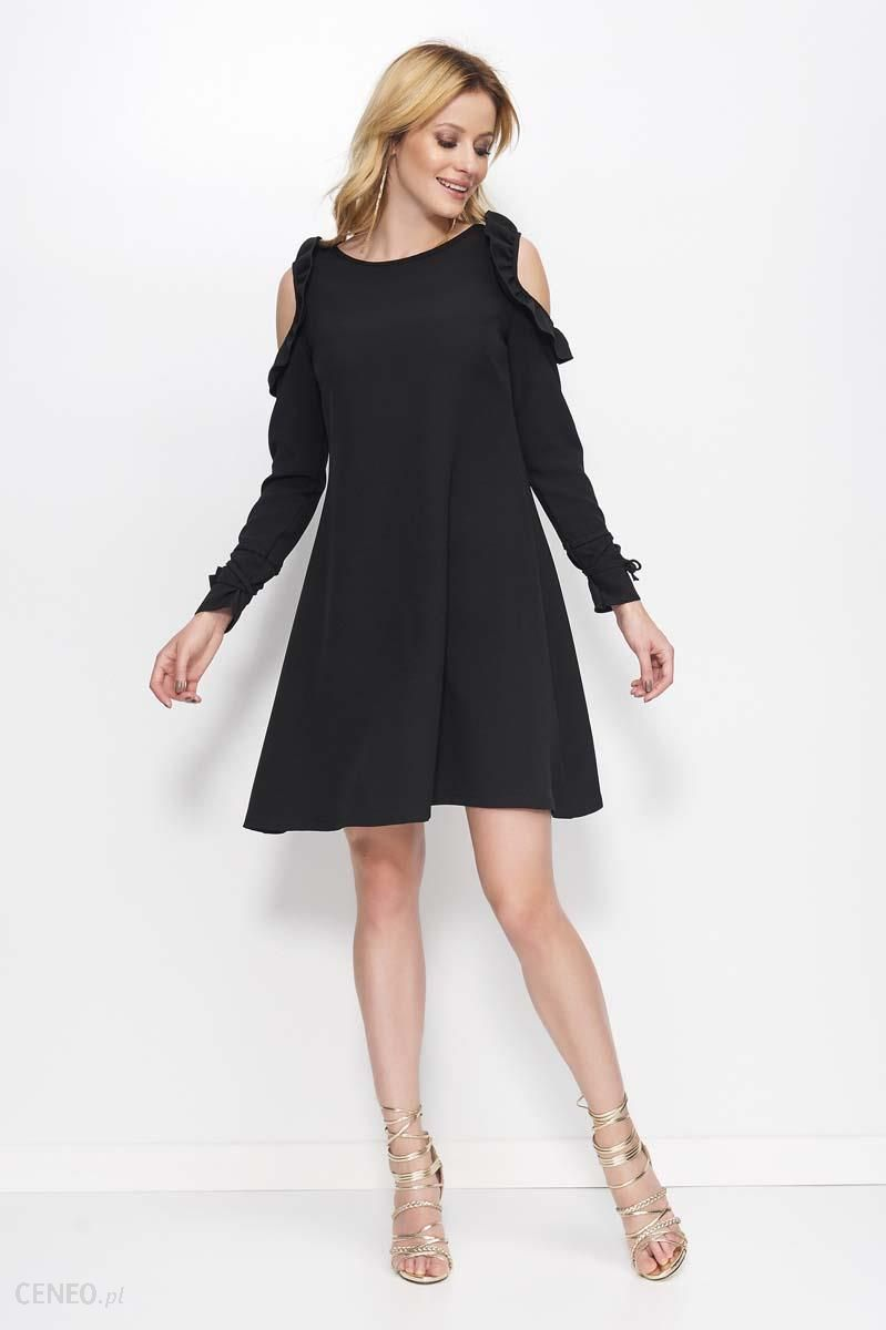 76a5b30db8 Makadamia Czarna Sukienka o Kształcie Litery A z Wiązanymi Rękawami -  zdjęcie 1