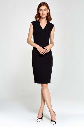 b0c76b06d3 Nife Czarna Sukienka Ołówkowa bez Rękawów z Dekoltem V