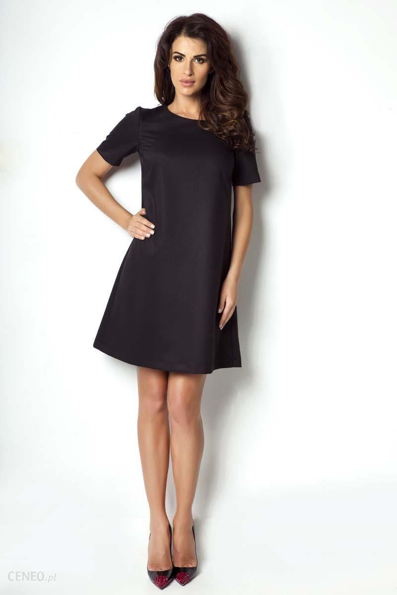 138a2b0a62 IVON Czarna Sukienka Trapezowa z Krótkim Rękawem - Ceny i opinie ...