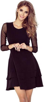 1d010a5c75 Numoco Czarna Sukienka Wizytowa Rozkloszowana z Transparentnymi Rękawami