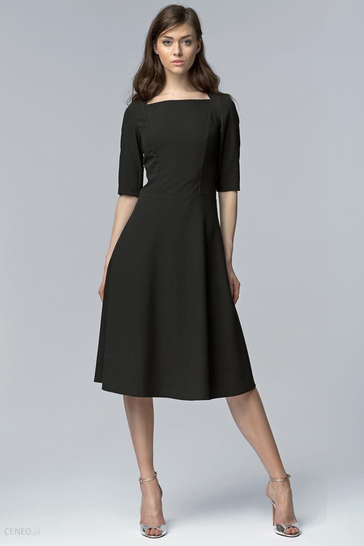 Nife Czarna Wizytowa Midi Sukienka z Szerokim Dołem z Rękawem 12