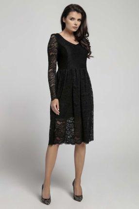 da48849c75 Granatowa mocno rozkloszowana sukienka z dekoltem koronka