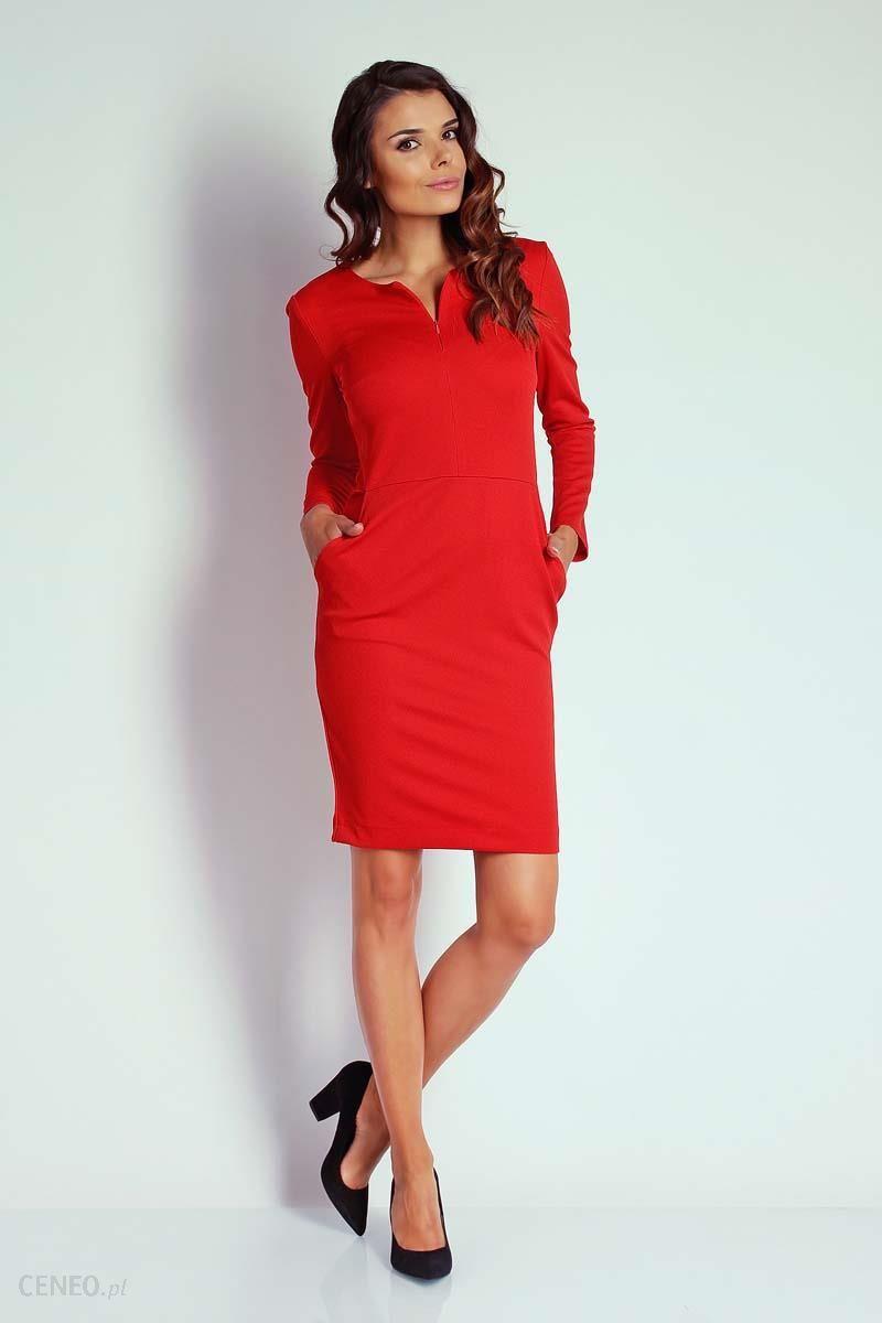 bfc563ec22 Nommo Czerwona Dopasowana Sukienka z Suwakiem przy Dekolcie - Ceny i ...