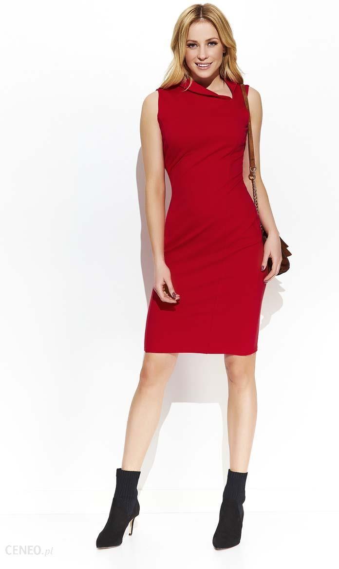 db775b73e1 Makadamia Czerwona Elegancka Sukienka z Efektownym Kołnierzykiem - zdjęcie 1