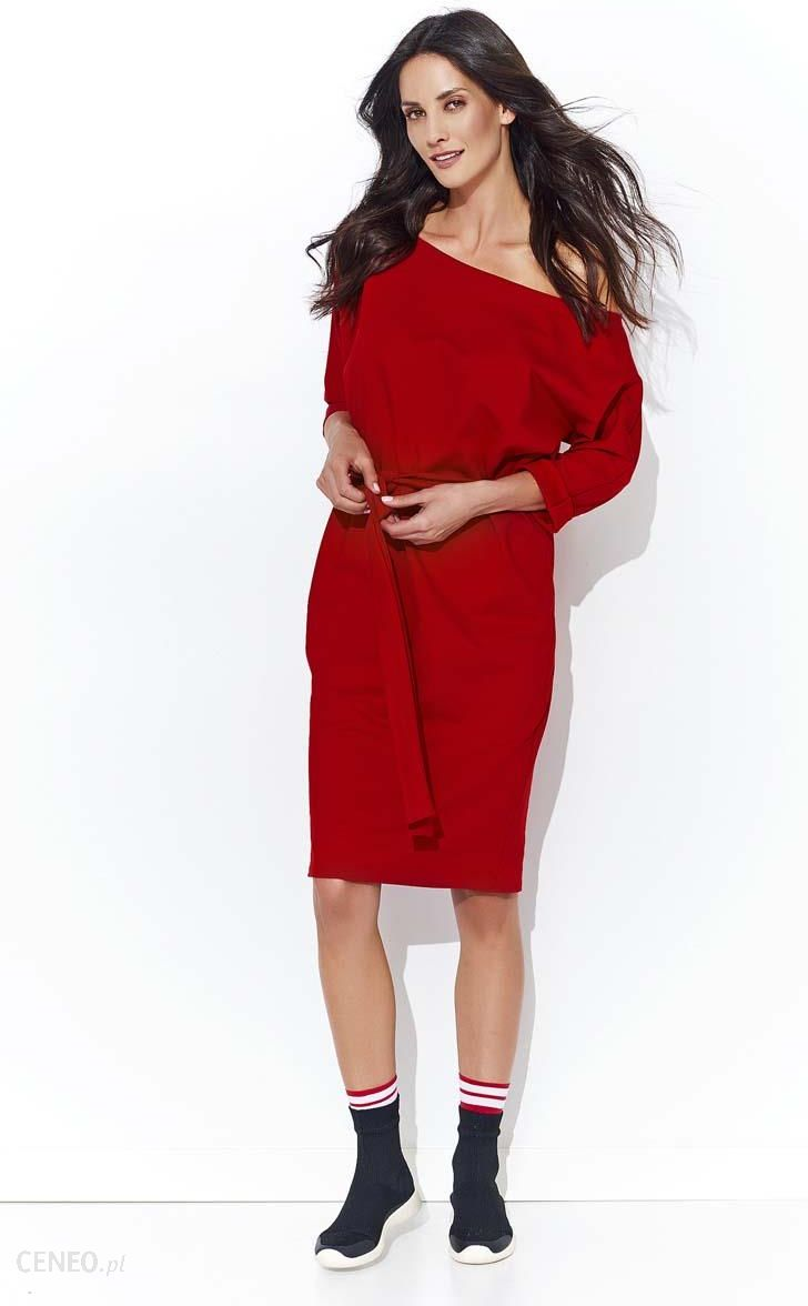 a716c5a68f Makadamia Czerwona Nowoczesna Kimonowa Sukienka Midi z Wiązanym Paskiem -  zdjęcie 1