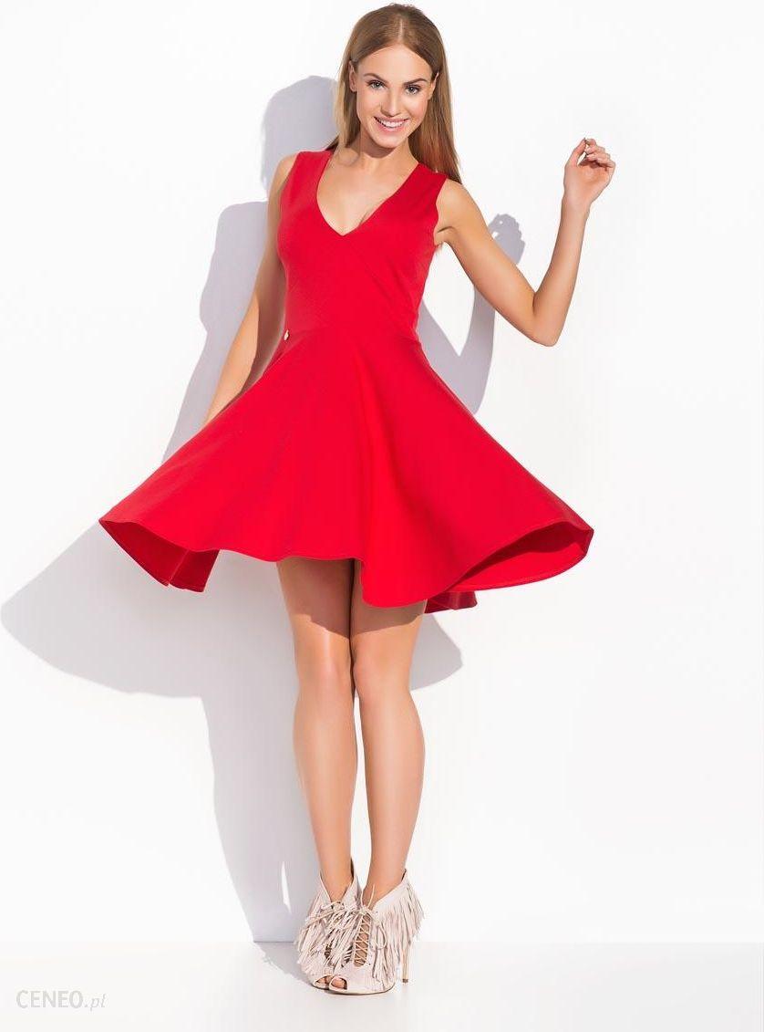 """3571e3c7fe Makadamia Czerwona Rozkloszowana Sukienka z Dekoltem """"V"""" na Szerokich  Ramiączkach - zdjęcie 1"""