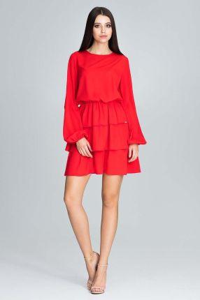 3b507ad977 Figl Czerwona Romantyczna Wyjściowa Sukienka z Długimi Bufiastymi Rękawami