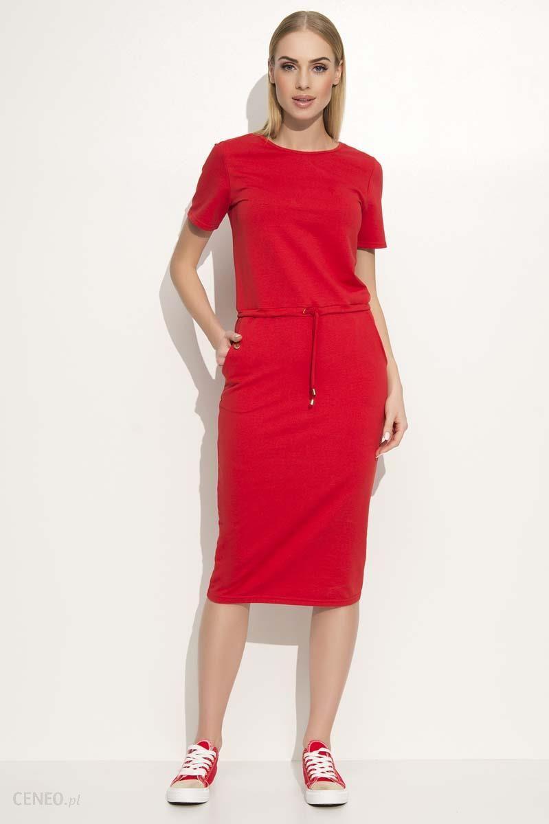 6a4d2b7443 Makadamia Czerwona Prosta Dzianinowa Sukienka Midi Wiązana w Pasie -  zdjęcie 1