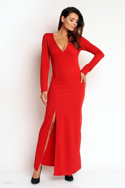 d5cf6d5a62 SALE Czerwona Seksowna Sukienka Maxi z Dekoltem V z Długim Rękawem -  zdjęcie 1