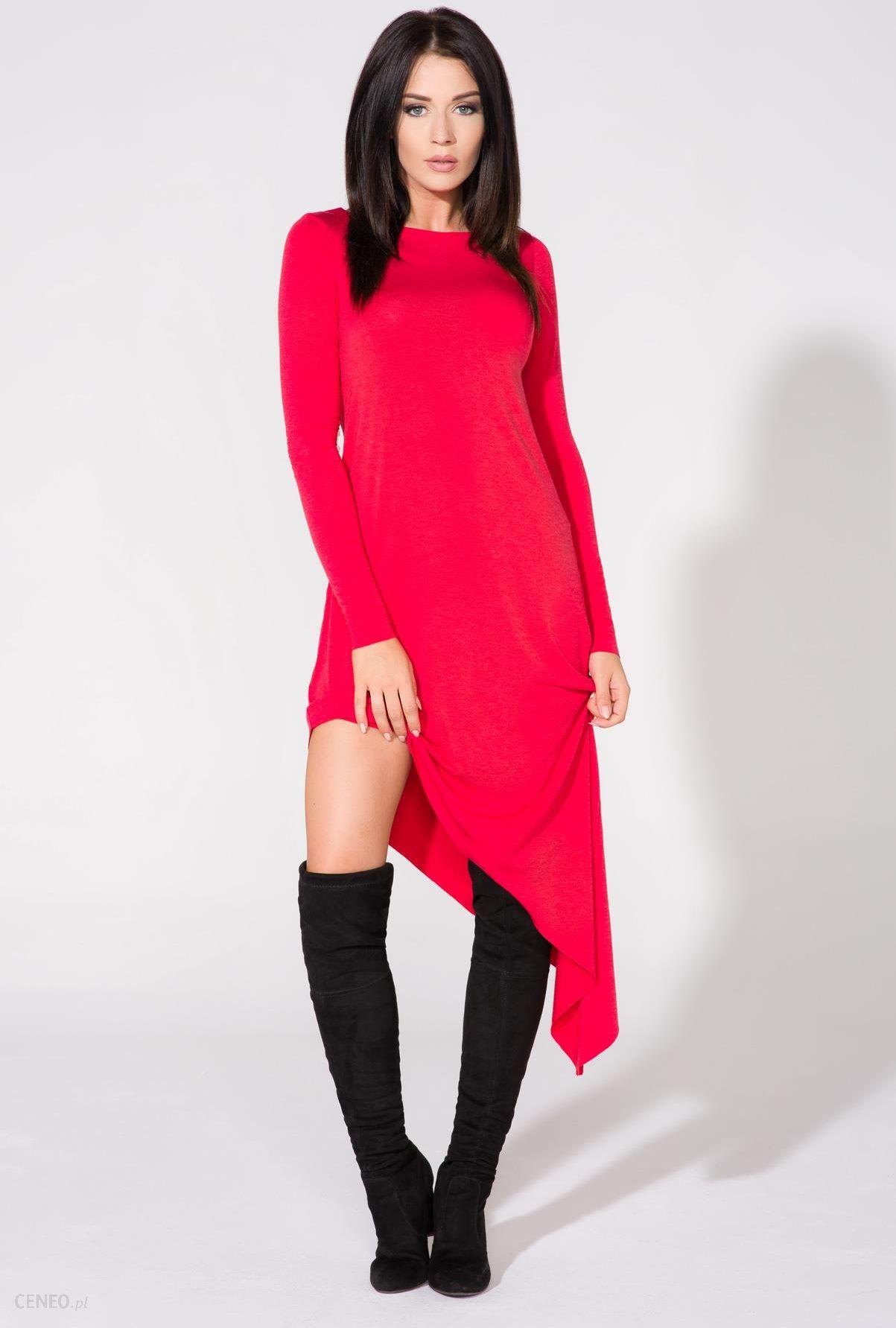 ebb95655ac Tessita Czerwona Sukienka Asymetryczna Dzianinowa z Długim Rękawem -  zdjęcie 1