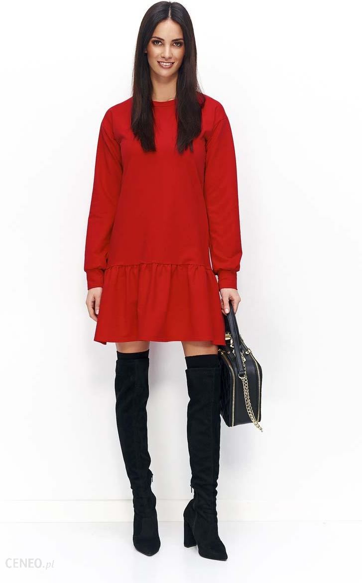 cc5befe626 Makadamia Czerwona Sukienka Casual z Falbanką na Długi Rękaw - zdjęcie 1