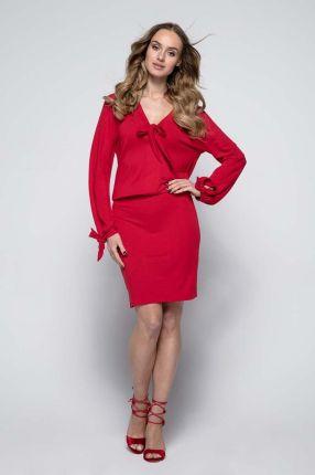 72ef967a334f 17281963ec77 Fobya Czerwona Sukienka Casual z Wiązaniami przy Dekolcie i  Rękawach  be772cd429fc Kartes Moda Elegancka Czerwona Maxi Sukienka w ...