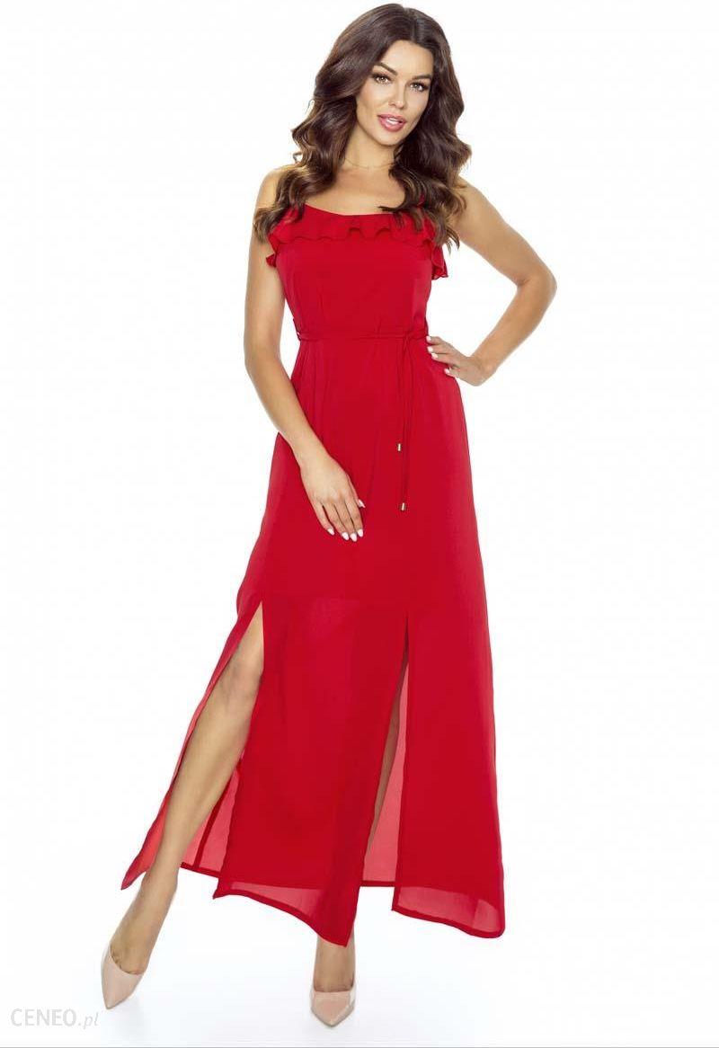 e194b3b361 Kartes Moda Czerwona Sukienka Długa Wieczorowa na Ramiączkach - zdjęcie 1