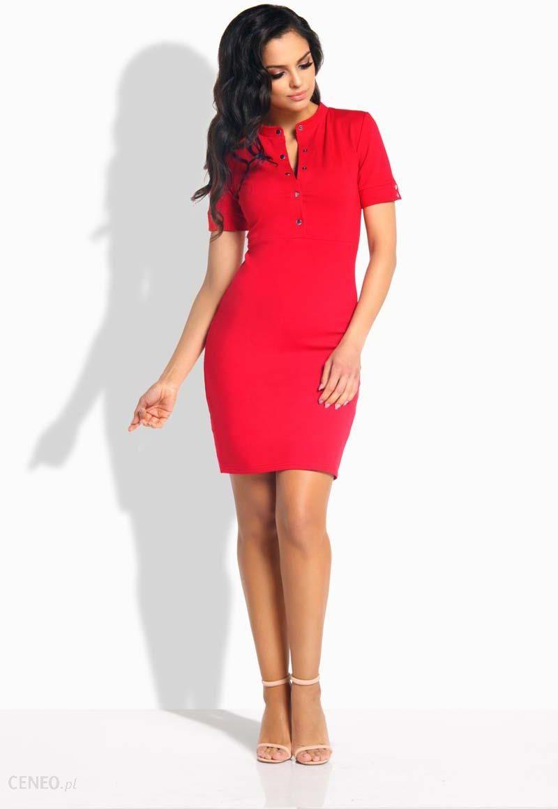 7219b2f5b074bc Lemoniade Czerwona Sukienka Dopasowana przed Kolano z Guzikami - zdjęcie 1