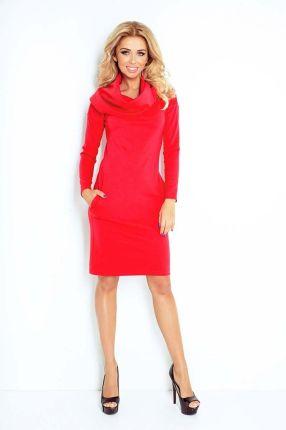 d1a65c4f22 Numoco Czerwona Sukienka Dopasowana z Obfitym Golfem
